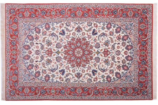 Perser Isfahan 227x150 Handgeknüpft Teppich 150x230 Mehrfarbig Orientalisch Kurzflor
