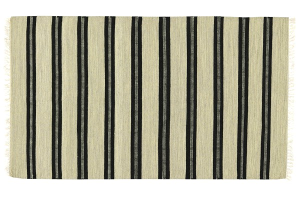 Kelim 180x120 Handgewebt Teppich 120x180 Beige Gestreift Handarbeit Orient Zimmer