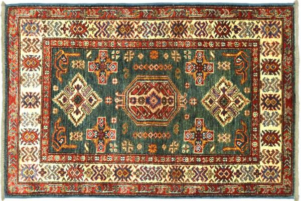 Afghan Kazak Fein 125x84 Handgeknüpft Orientteppich 80x130 Grün Umrandung Wolle