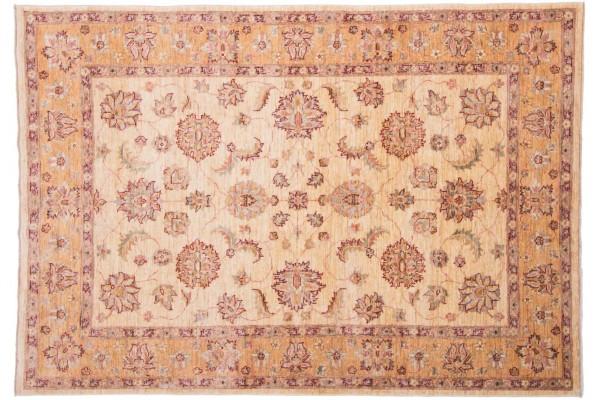 Afghan Chobi Ziegler 211x148 Handgeknüpft Teppich 150x210 Beige Blumenmuster Kurzflor