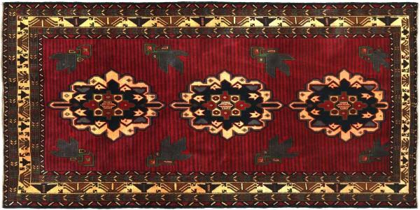 Afghan Belutsch Baluch 205x116 Handgeknüpft Orientteppich 120x210 Rot Geometrisch Wolle