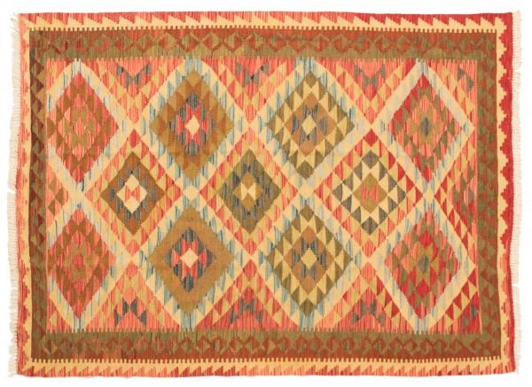 Afghan Maimana Kelim Bunt 196x148 Handgewebt Teppich 150x200 Rot Geometrisch Muster