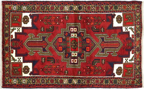 Perser Hamadan Vogel 142x100 Handgeknüpft Orientteppich 100x140 Rot Medaillon Wolle