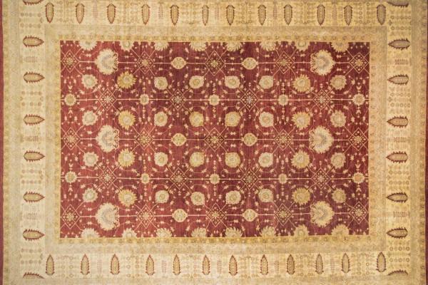 Afghan Chobi Ziegler 538x400 Handgeknüpft Teppich 400x540 Rot Orientalisch Kurzflor