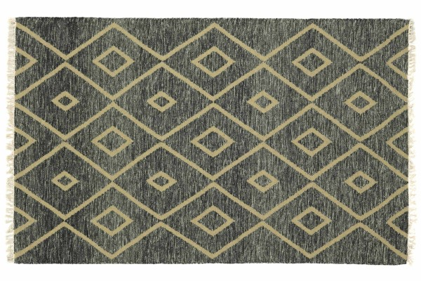 Kelim 230x160 Handgewebt Teppich 160x230 Grau Geometrisch Muster Handarbeit Orient