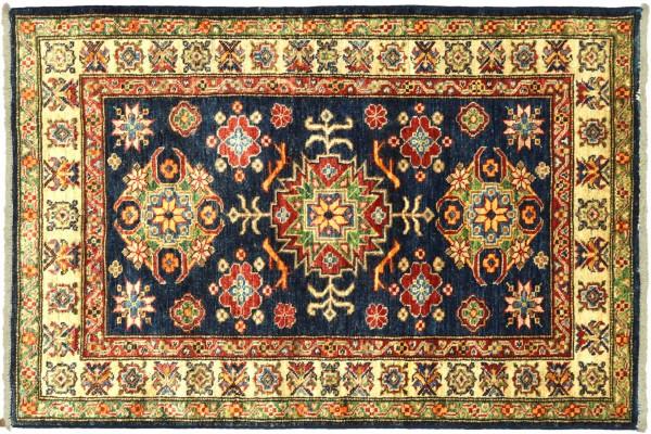 Afghan Kazak Fein 119x99 Handgeknüpft Orientteppich 100x120 Schwarz Umrandung Wolle