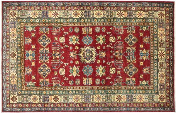 Afghan Kazak Fine Teppich 170x240 Handgeknüpft Rot Geometrische Wolle Kurzflor Rug