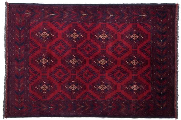 Afghan Khal Mohammadi 190x126 Handgeknüpft Teppich 130x190 Rot Geometrisch Muster