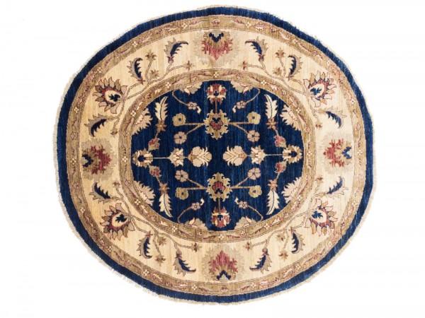 Chobi Ziegler rund 150x145 cm Handgeknüpfter Teppich aus Afghanistan