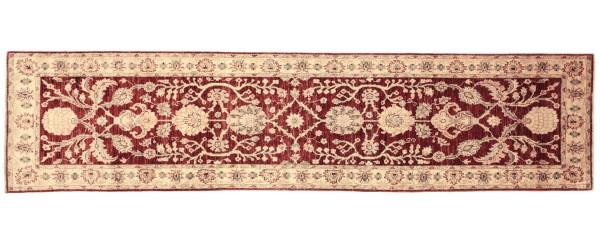 Afghan Chobi Ziegler 294x80 Handgeknüpft Teppich 80x290 Läufer Rot Orientalisch