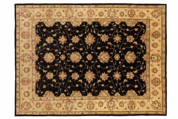 Afghan Chobi Ziegler 233x175 Handgeknüpft Teppich 180x230 Schwarz Orientalisch Kurzflor