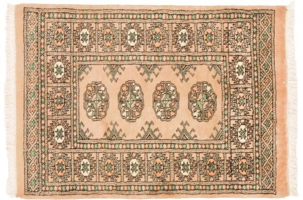 Pakistan Buchara 91x64 Handgeknüpft Teppich 60x90 Beige Geometrisch Muster Kurzflor