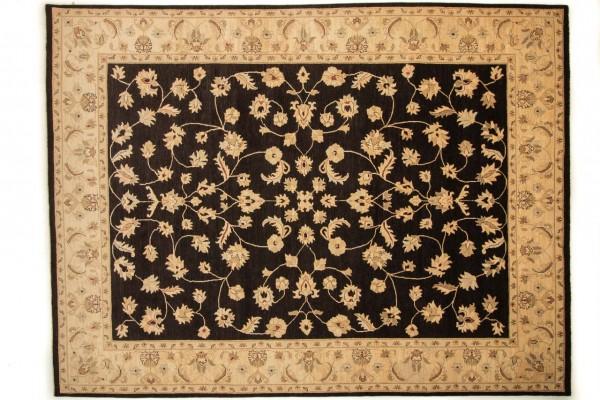 Afghan Chobi Ziegler 361x275 Handgeknüpft Teppich 280x360 Schwarz Blumenmuster Kurzflor
