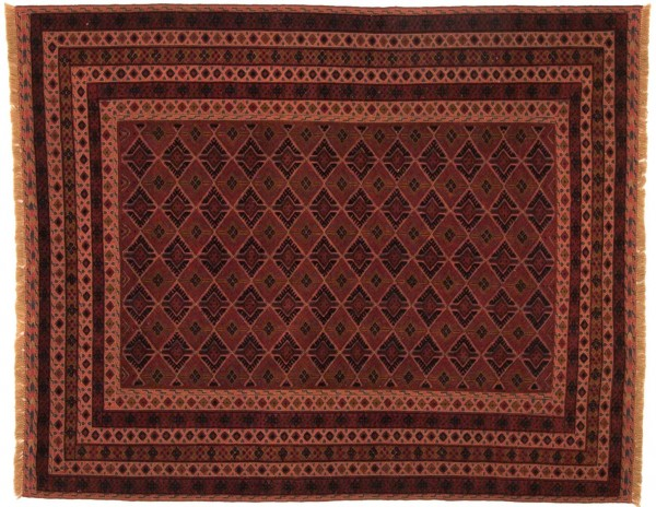 Afghan Mushwani Kelim 190x153 Handgewebt Teppich 150x190 Rot Orientalisch Handarbeit