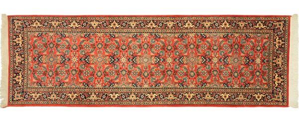 Sarough Teppich 80x240 Handgeknüpft Läufer Orange Floral Wolle Kurzflor Rug