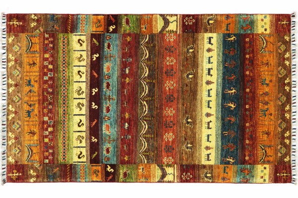 Afghan Ziegler Khorjin Nomaden 186x127 Handgeknüpft Orientteppich 130x190 Beige