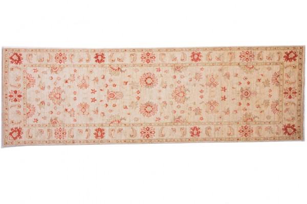 Afghan Chobi Ziegler 268x85 Handgeknüpft Teppich 90x270 Läufer Beige Orientalisch