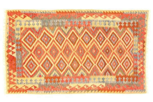 Afghan Maimana Kelim Bunt 246x158 Handgewebt Teppich 160x250 Beige Geometrisch Muster