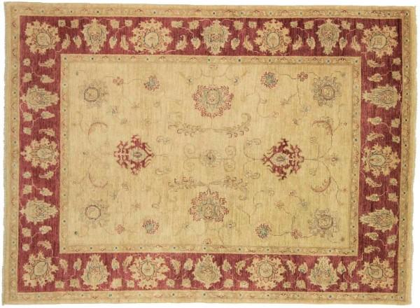 Afghan Chobi Ziegler 205x150 Handgeknüpft Teppich 150x210 Beige Blumenmuster Kurzflor
