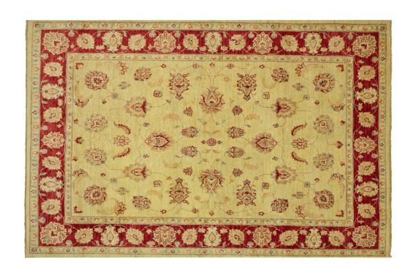 Afghan Chobi Ziegler 223x172 Handgeknüpft Teppich 170x220 Beige Floral Kurzflor Orient