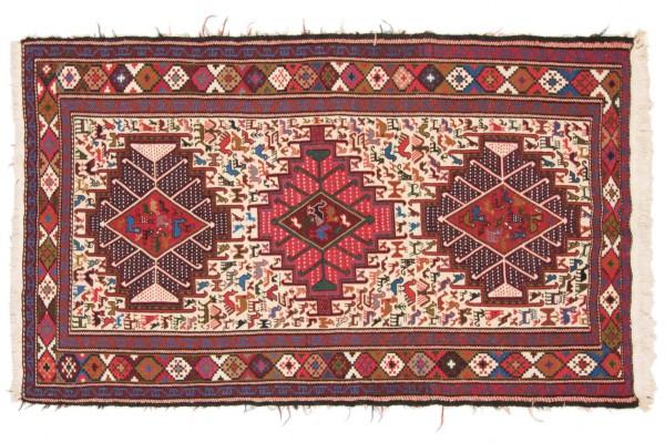 Perser Seidensoumakh 199x114 Handgewebt Teppich 110x200 Mehrfarbig Orientalisch