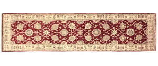 Afghan Chobi Ziegler 288x79 Handgeknüpft Teppich 80x290 Läufer Rot Orientalisch