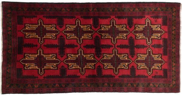 Afghan Belutsch 210x115 Handgeknüpft Teppich 120x210 Schwarz Geometrisch Muster