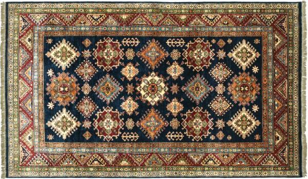 Afghan Kazak Fine Teppich 170x260 Handgeknüpft Blau Geometrische Wolle Kurzflor Rug