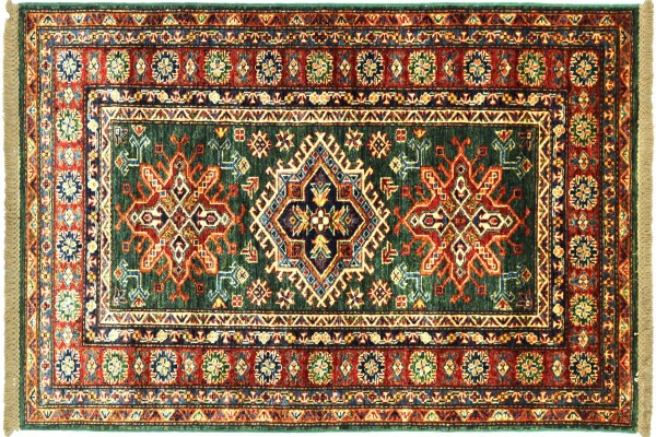 Afghan Kazak Fein 156x92 Handgeknüpft Orientteppich 90x160 Grün Umrandung Wolle