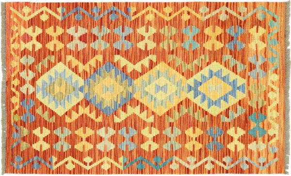 Afghan Maimana Kelim Bunt 122x83 Handgewebt Teppich 80x120 Bunt Geometrisch Orient