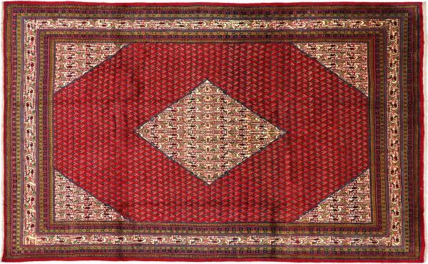 Perser Mir Boteh Teppich 200x300 Handgeknüpft Rot Geometrisch Wolle Kurzflor Rug