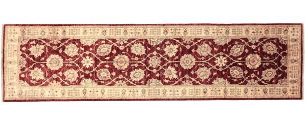 Afghan Chobi Ziegler 282x81 Handgeknüpft Teppich 80x280 Läufer Rot Orientalisch