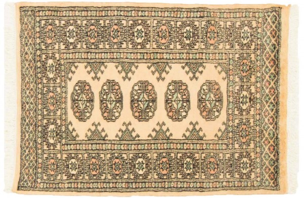 Pakistan Buchara 92x65 Handgeknüpft Teppich 70x90 Beige Geometrisch Muster Kurzflor