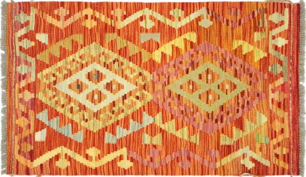 Afghan Maimana Kelim Bunt 98x65 Handgewebt Teppich 70x100 Bunt Geometrisch Orient Wolle