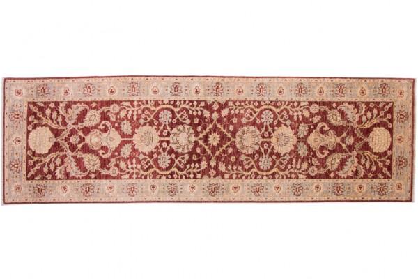 Afghan Chobi Ziegler 294x77 Handgeknüpft Teppich 80x290 Läufer Rot Orientalisch