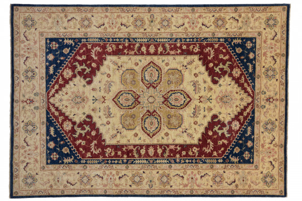 Afghan Chobi Ziegler 290x203 Handgeknüpft Teppich 200x290 Beige Geometrisch Muster