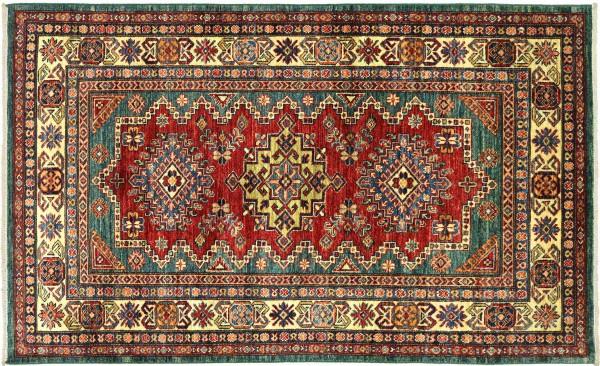 Afghan Kazak Fein 181x120 Handgeknüpft Orientteppich 120x180 Rot Umrandung Wolle