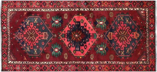Perser Hamedan Teppich 100x200 Handgeknüpft Rot spiegelmuster Wolle Kurzflor Rug