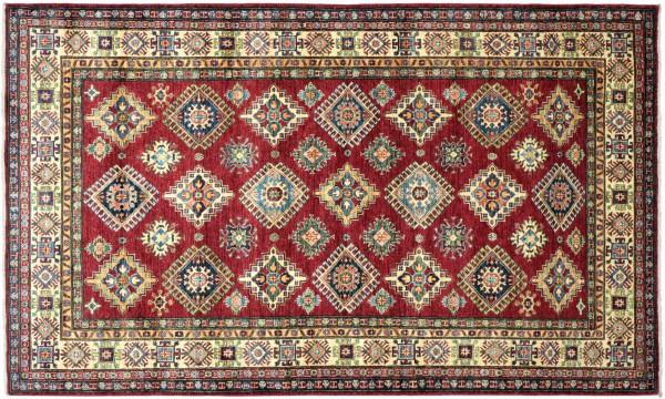 Afghan Kazak Fine Teppich 170x260 Handgeknüpft Rot Geometrische Wolle Kurzflor Rug