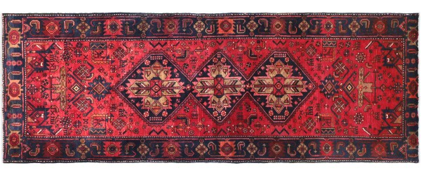 Perser Hamedan Teppich 120x310 Handgeknüpft Läufer Rot spiegelmuster Wolle Kurzflor Rug