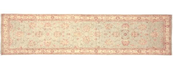 Afghan Chobi Ziegler 295x80 Handgeknüpft Teppich 80x300 Läufer Grau Orientalisch