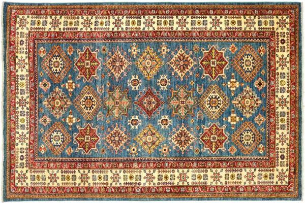 Afghan Kazak Fein 209x173 Handgeknüpft Orientteppich 170x210 Blau Geometrisch Wolle