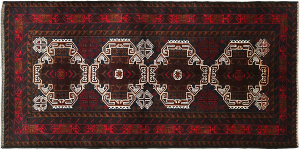Afghan Belutsch Baluch 194x105 Handgeknüpft Orientteppich 110x190 Dunkelblau