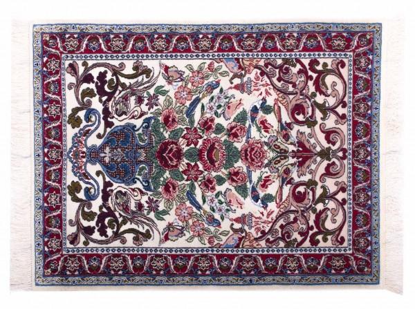 Perser Isfahan 92x71 Handgeknüpft Teppich 70x90 Mehrfarbig Blumenmuster Kurzflor Orient