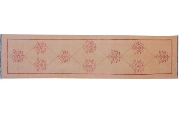 Afghan Chobi Ziegler 301x71 Handgeknüpft Teppich 70x300 Läufer Beige Orientalisch