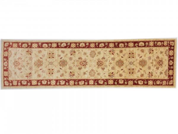 Afghan Chobi Ziegler 282x76 Handgeknüpft Teppich 80x280 Läufer Rot Blumenmuster