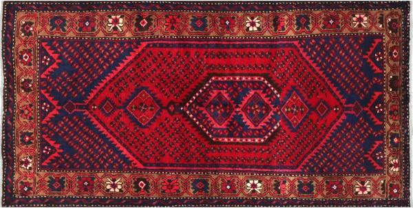 Perser Hamedan Teppich 110x190 Handgeknüpft Rot spiegelmuster Wolle Kurzflor Rug