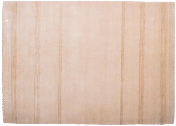 Loribaft 199x142 Handgeknüpft Teppich 140x200 Beige Linien Kurzflor Orient Rug