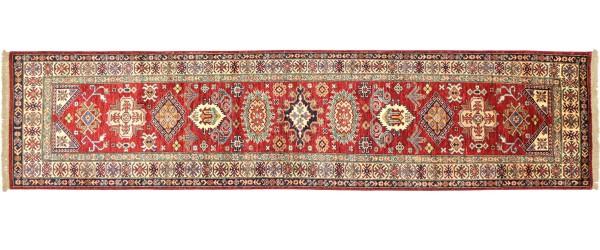 Afghan Kazak Fein 314x78 Handgeknüpft Orientteppich 80x310 Läufer Rot Geometrisch Wolle