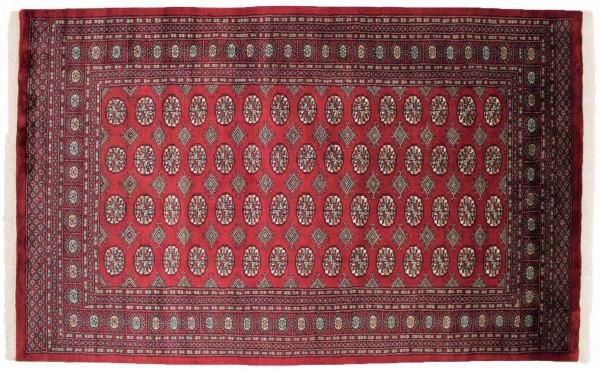 Pakistan Buchara 247x154 Handgeknüpft Teppich 150x250 Rot Geometrisch Muster Kurzflor